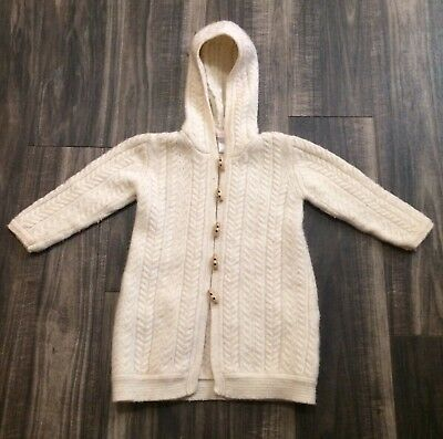 Janie And Jack 3t Lambs wool Angora Button Down Ivory Hooded Sweater