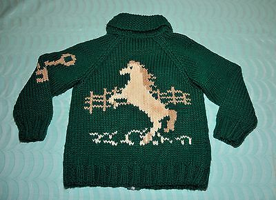 Vintage Wool Childs Cowichan Sweater XS/S Horses Equestrian Zip Front Handmade
