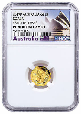2017 Australia 1/10 oz Gold Koala - Proof $15 Coin NGC PF70 UC ER SKU48593