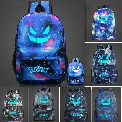 Pokemon Go Noctilucence Gengar Galaxy School Bag Rucksack Laptop Travel Backpack