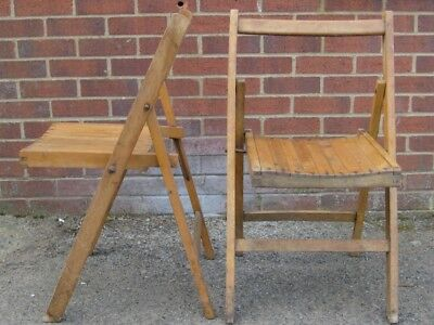 Pair 2 Art Deco antique military solid beech folding dining deck side chairs