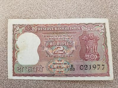 India Two Rupees Bank Note 1962 Pick # 51  scarce banknote ~~Bengal Tiger~~