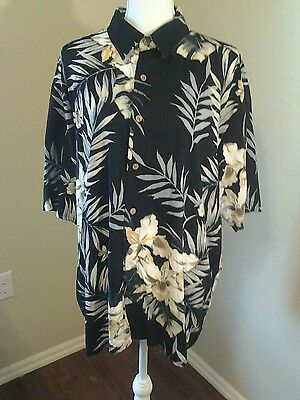 Puritan Size XL Men's  Multi-color Floral Button Front Rayon Hawaiian Shirt