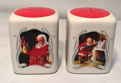 Coca Cola Santa Salt & Pepper Shakers Christmas 4 Sided Santa Pictures W Coke