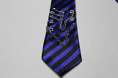 Blue & Black Striped - Skinny - Punk Style - Claire's - Polyester Neck Tie!