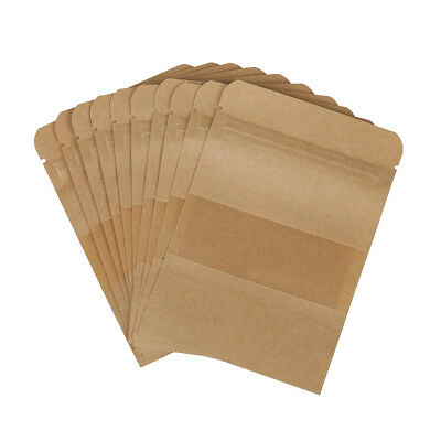 10PcsSweets Ziplock Seal Kraft Paper Bag Window Stand Up Sealable Pouch W3C5