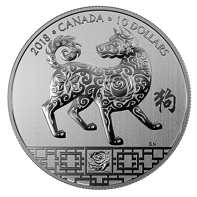 YEAR OF THE DOG - 2018 $10 1/2 oz Fine Silver Coin - Royal Canadian Mint