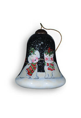 Snow Pets Ornament Ne'Qwa Art Dog Cat Christmas Reverse Painted Glass Cardinals