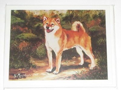 Shina Inu Dog Notecards Envelopes Set of 6 New Brown White Blank Inside Curled