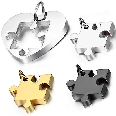MENDINO His Hers Stainless Steel Pendant Necklace Puzzle Heart Love Couples 2PCS