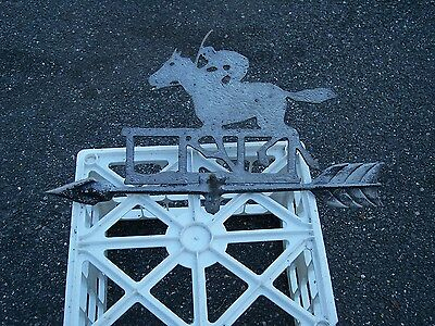 RUNNING HORSE with JOCKEY at FENCE ANTIQUE LIGHTING ROD WEATHER VANE TOP   #3