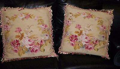 Vintage Pair Needlepoint Roses Square Down Filled Pillows 21""