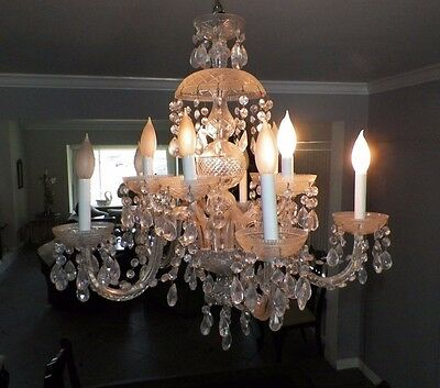 Vintage Crystal 5 Arm Chandelier Dripping Crystals