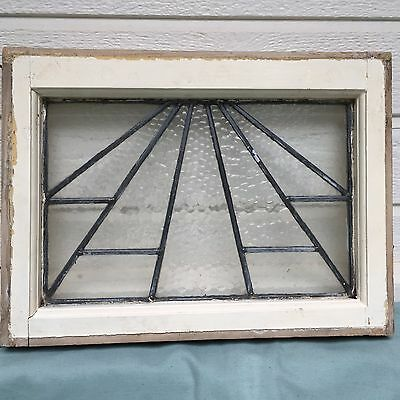 Antique Vintage Stained Glass Window 20X13 Clear Sun Rays Stripes Triangles