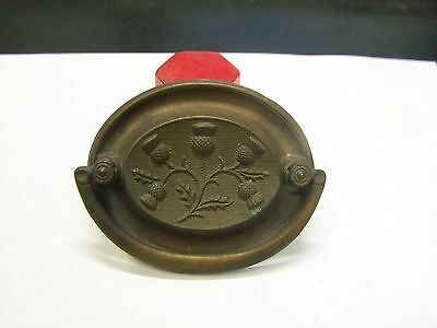 1 Antique Ornate Oval Bail Drawer Pull Handle Solid Brass-Thistle-KEELER K1655