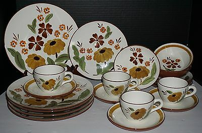 20 Pieces Stangl First Love Hand Painted Dishes Plates Cups Saucers Bowls VGUC