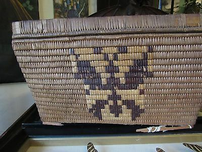 Large lidded  basket Native  Thompson River Salish, Butterfy and squirrel