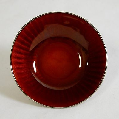 David Andersen Sterling Silver and Red Guilloche Enamel Salt Dish Bowl 4226/64
