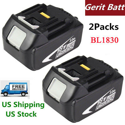 2xReplacement  for Makita18V Battery 3.0Ah Lithium-Ion BL1830 BL1840 BL1850 Tool