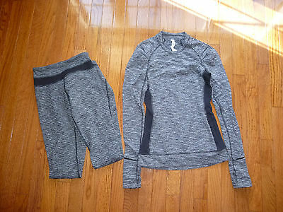 EXCELLENT! Lululemon Girls Top/Bottom Outfit Sz 2 Gray/Black