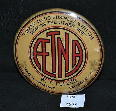 ThriftCHI ~ AETNA Advertising Mirror Paperweight W.T. Fuller Dallastown, PA