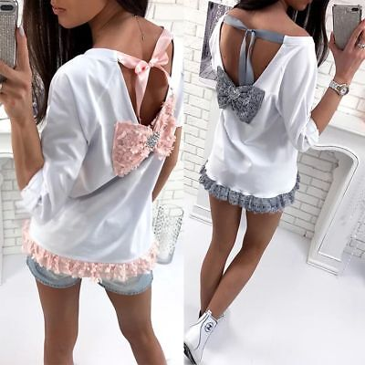 US Womens Summer Long Sleeve Shirt Casual Blouse Loose Cotton Tops T Shirt
