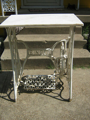 Antique Singer Treadle Sewing Machine Cast Iron White Base & Marble Top Table