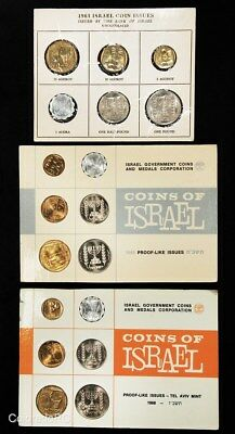 Lot of 3 - 1963, 1965, 1966 Coins of Israel Official Mint 6-Coin Sets