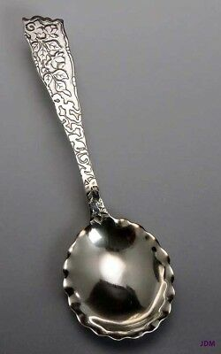 Beautiful c1880s Knowles Sterling Silver Floral Jam / Sugar Serving Spoon