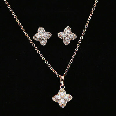 Rose Gold Plated Cubic Zirconia Flower Jewelry Sets  Wedding Necklace Earrings