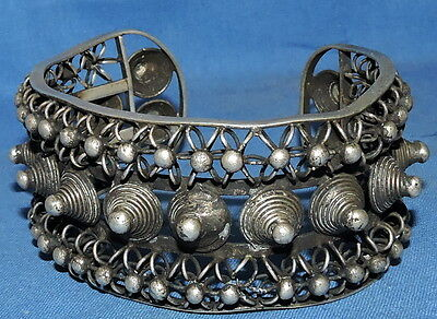 tribal spike coils open cuff silver miao hmong tribe. great open cuff bangle cuf