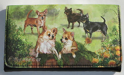 Chihuahua Dogs Wallet Flowers Grass Removable Checkbook Inside Bill Slots New