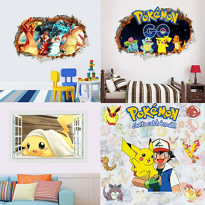 3D Hot Pokemon Go Cute Pikachu Wall Decals Stickers Kids BedRoom Decoration #02