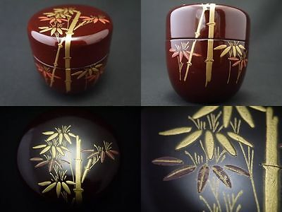 Japanese Traditional Lacquer Wooden Tea Caddy Bamboo makie Natsume (725)