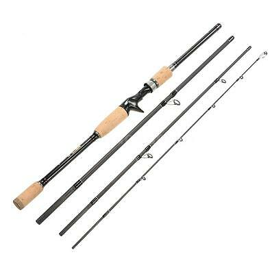 2.1M Carbon Fiber Portable Baitcasting Fishing Medium Rod Pole Freshwater S7A8
