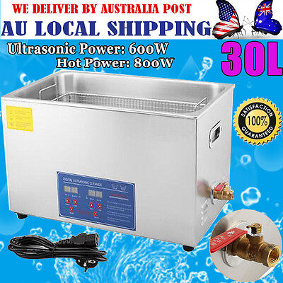 30L Digital Ultrasonic Cleaner Bath Timer Heater Stainless Steel Tank Cleaning A
