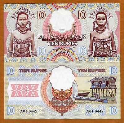 Java, Indonesia, 10 Rupies, 2017, Private Issue, Essay, UNC