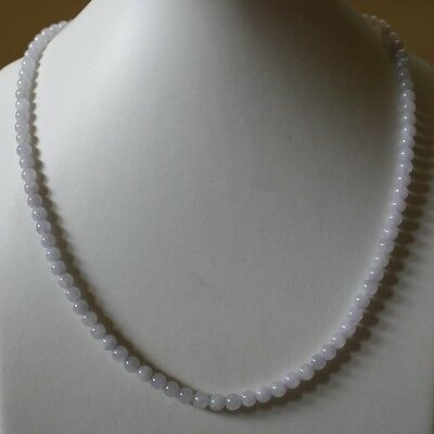 CERTIFIED Natural (Grade A) Icy Light Lavender JADE Round Beads Necklace #N149