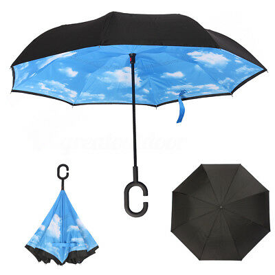 Windproof Umbrella Sky Double Layer Upside Down Inverted Folding Handle Reverse