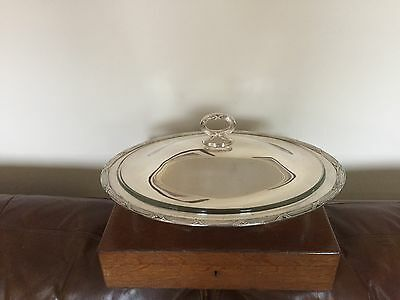 Large Silver Plated Lidded Oval Shaped Serving Dish With A Pyrex Glass Liner
