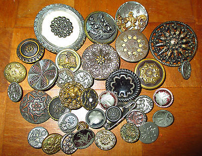 Lot 35+ Antique Victorian Metal Buttons - All Flowers - Tinies Steels Twinkle ++