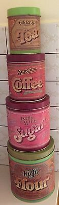 CANISTER SET 4 Graduated TIN retro 70s Kitchen FOOD storage