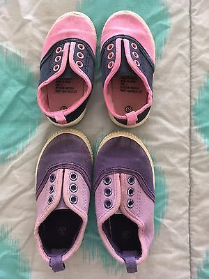 Baby Toddler Twins Canvas Slip On Shoes Size 3/4