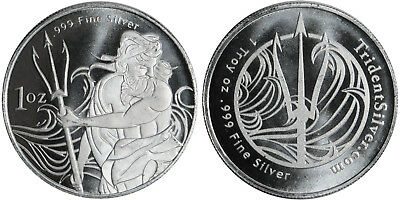 1 oz Trident Silver Round .999% Pure Silver (Secure Post)