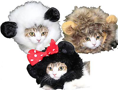 Pet Cat Small Dog Panda Lion Mouse Mane Hood Funny Fancy Dress Costume Outfit