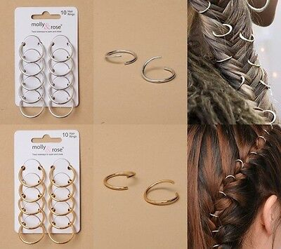 PACK OF 6 CARDS OF HAIR RINGS; 2cm DIAMANTER 10/C; SILVER; GILT : HAIR ACCESSORY