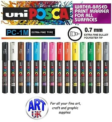 Posca PC-1MC Extra fine bullet tip Paint Marker Art Pen Fabric Glass Metal Stone