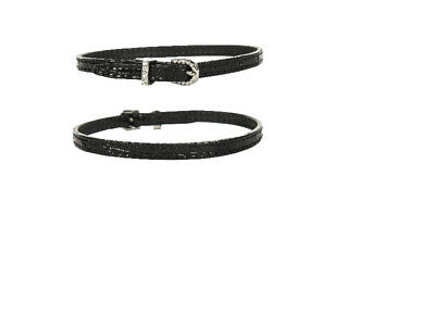 Leather Spur Straps, Black Mock Croc & Crystal Buckles Free Delivery