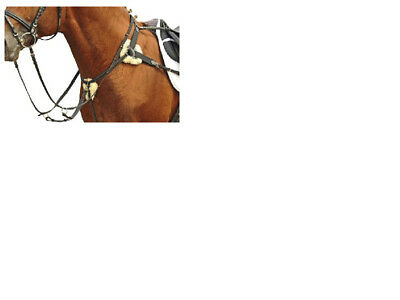 5 Point Breastplate German Leather, Wool Pads, Rrp £71.95 Free Delivery