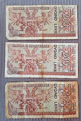 Paper money albania 200, leke 1992 - 1994 - 1996, 3 pcs used.